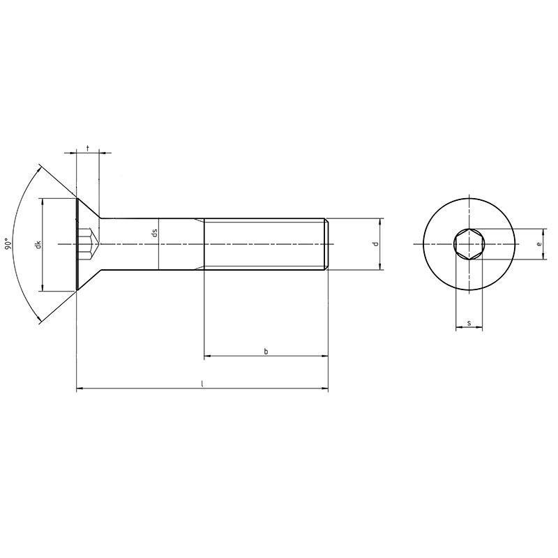M4 X 6-25 mm Tête de Vis Din 7991 Grade 5 Vis en Titane